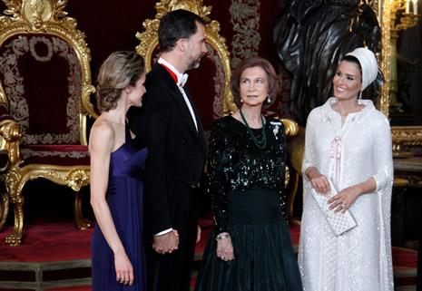 Los reyes, la reina Sofia y la jequesa Mozah